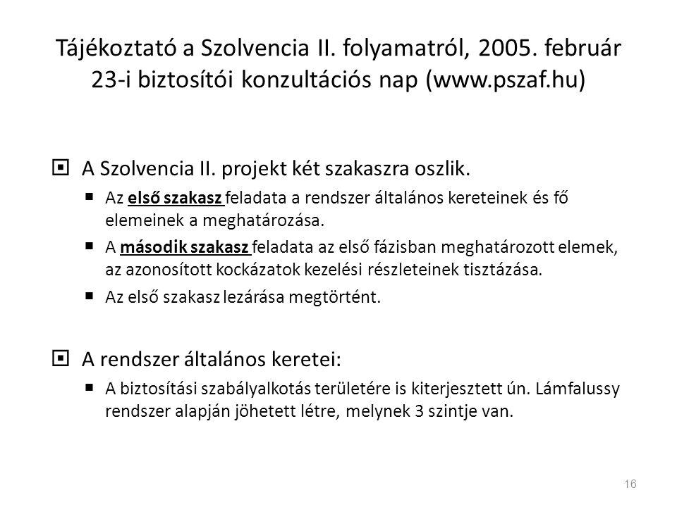 Tájékoztató a Szolvencia II. folyamatról, 2005