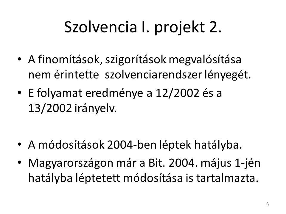 Szolvencia I. projekt 2. A finomítások, szigorítások megvalósítása nem érintette szolvenciarendszer lényegét.