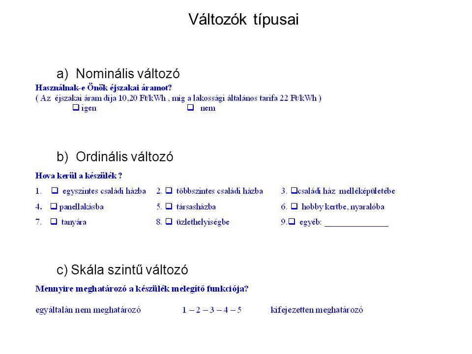 Változók típusai c) Skála szintű változó a) Nominális változó