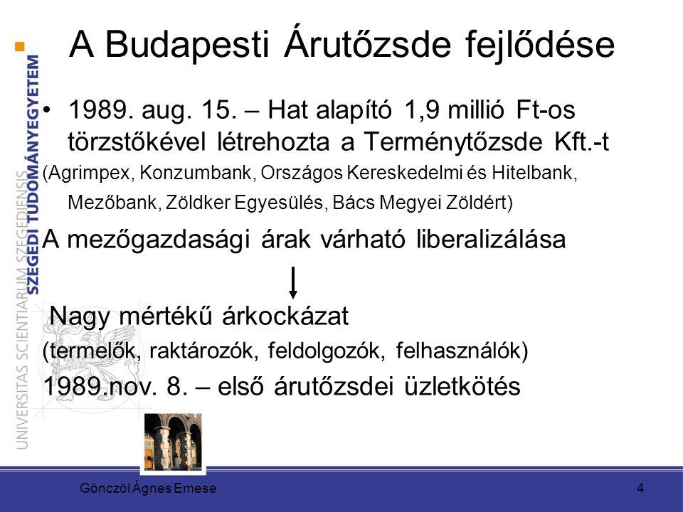 A Budapesti Árutőzsde fejlődése