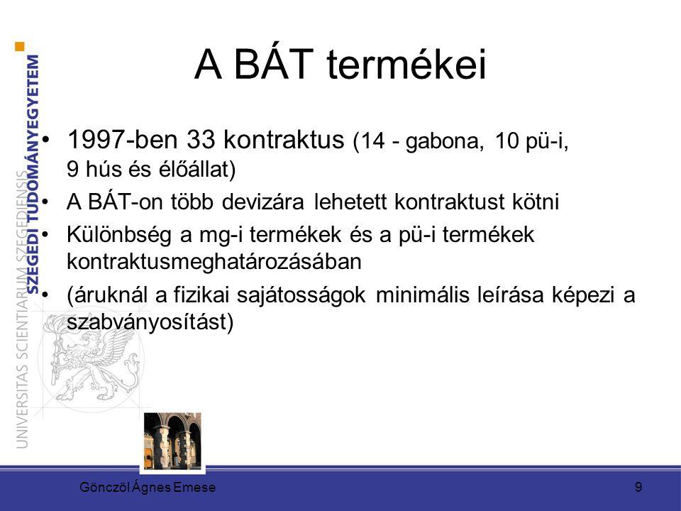 A BÁT termékei 1997-ben 33 kontraktus (14 - gabona, 10 pü-i, 9 hús és élőállat) A BÁT-on több devizára lehetett kontraktust kötni.