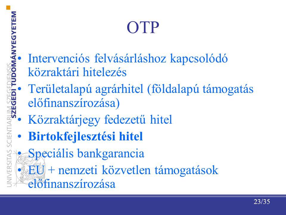 OTP Intervenciós felvásárláshoz kapcsolódó közraktári hitelezés