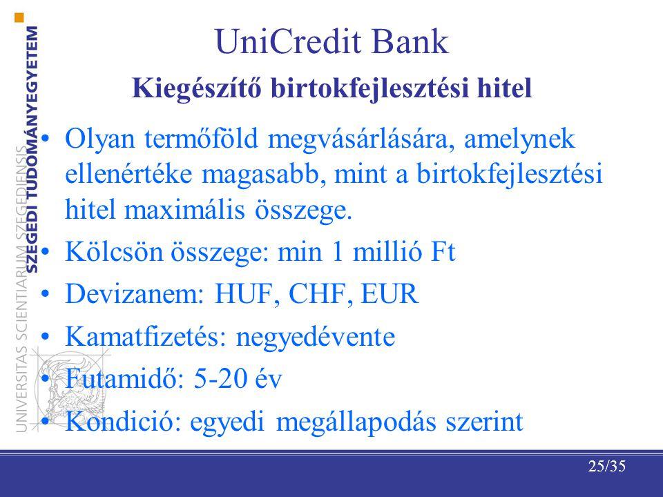 UniCredit Bank Kiegészítő birtokfejlesztési hitel