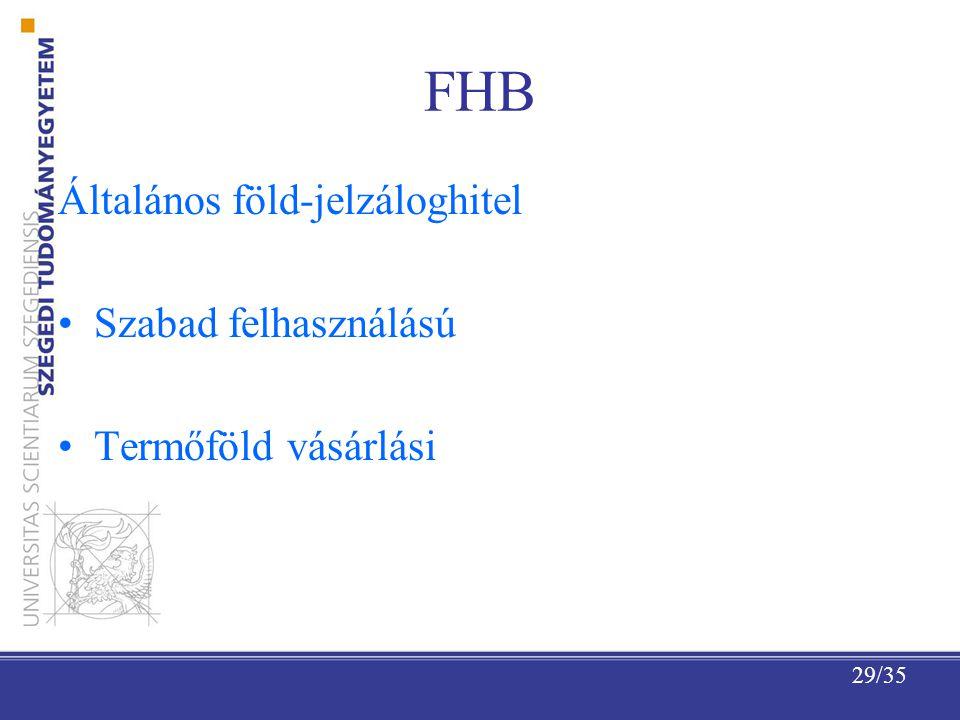 FHB Általános föld-jelzáloghitel Szabad felhasználású
