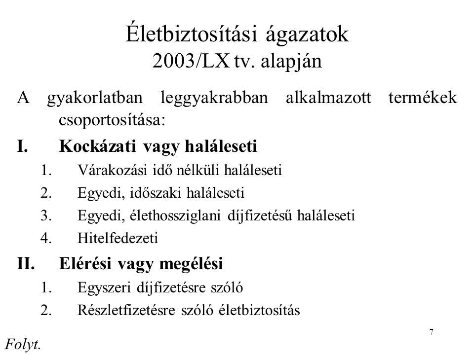 Életbiztosítási ágazatok 2003/LX tv. alapján