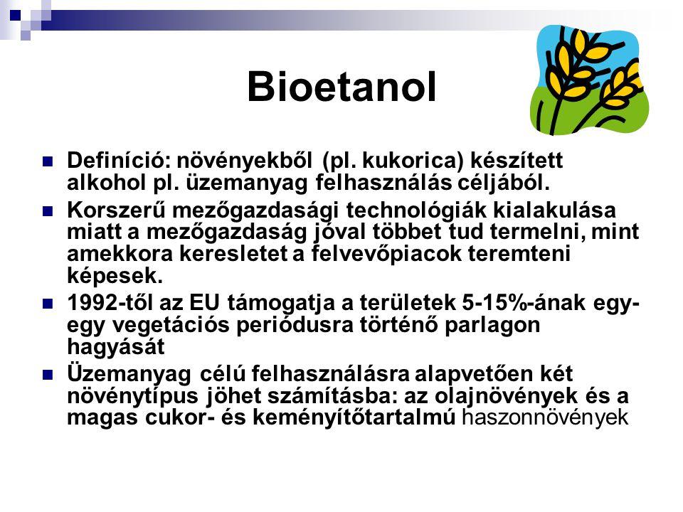 Bioetanol Definíció: növényekből (pl. kukorica) készített alkohol pl. üzemanyag felhasználás céljából.