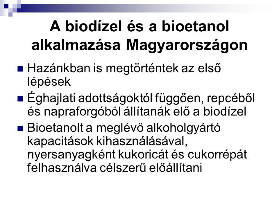 A biodízel és a bioetanol alkalmazása Magyarországon