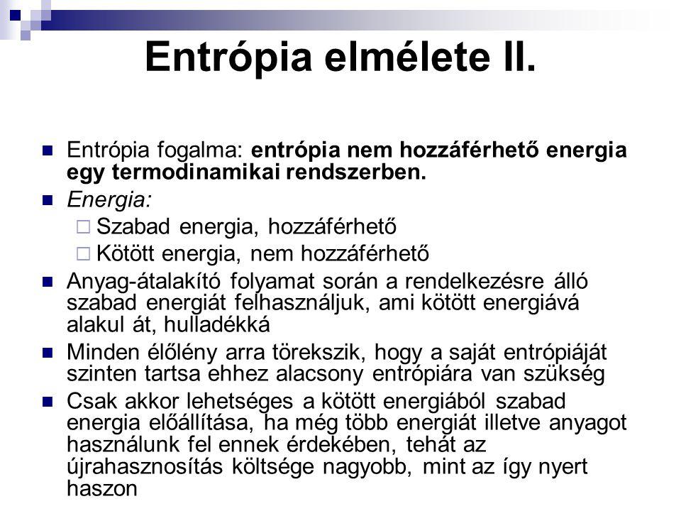 Entrópia elmélete II. Entrópia fogalma: entrópia nem hozzáférhető energia egy termodinamikai rendszerben.