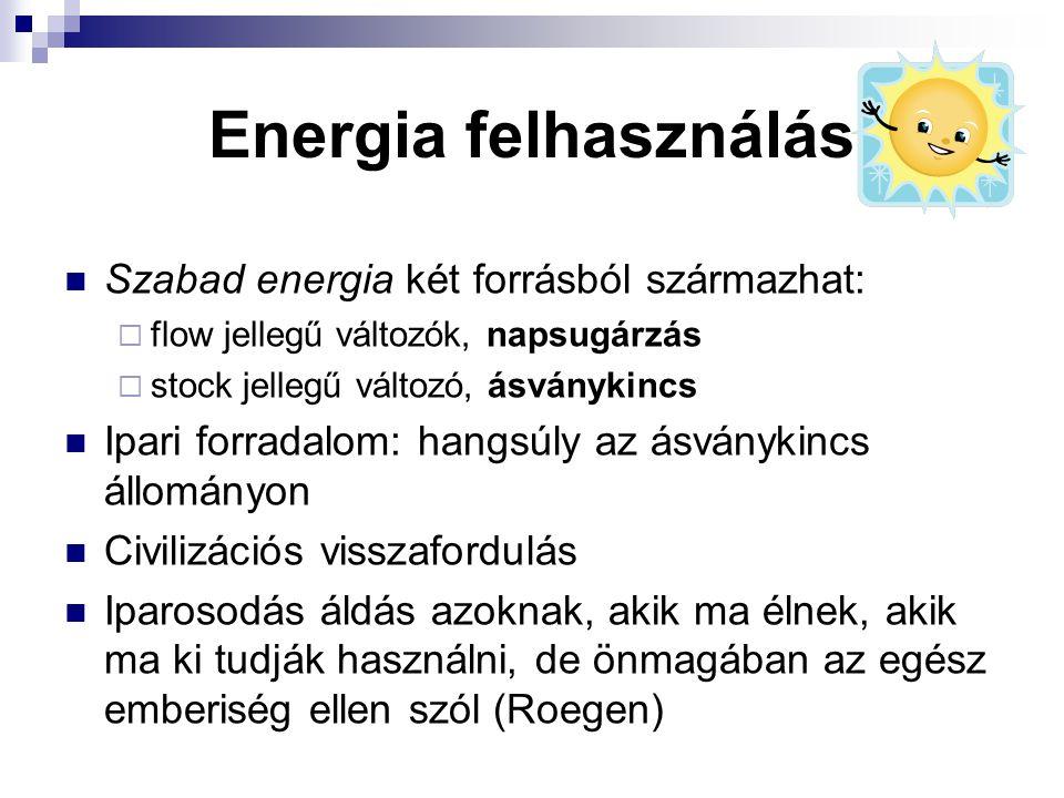 Energia felhasználás Szabad energia két forrásból származhat: