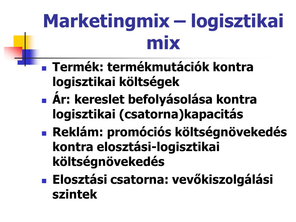 Marketingmix – logisztikai mix