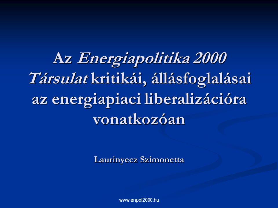 Az Energiapolitika 2000 Társulat kritikái, állásfoglalásai az energiapiaci liberalizációra vonatkozóan Laurinyecz Szimonetta
