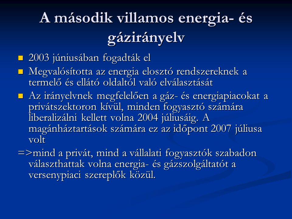 A második villamos energia- és gázirányelv