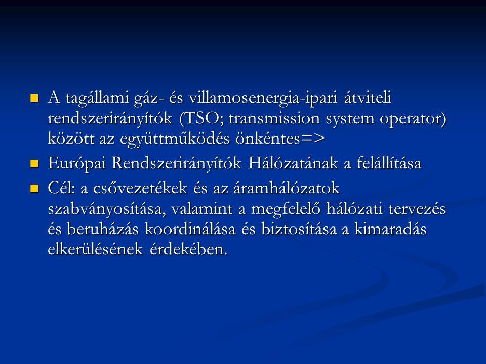 A tagállami gáz- és villamosenergia-ipari átviteli rendszerirányítók (TSO; transmission system operator) között az együttműködés önkéntes=>