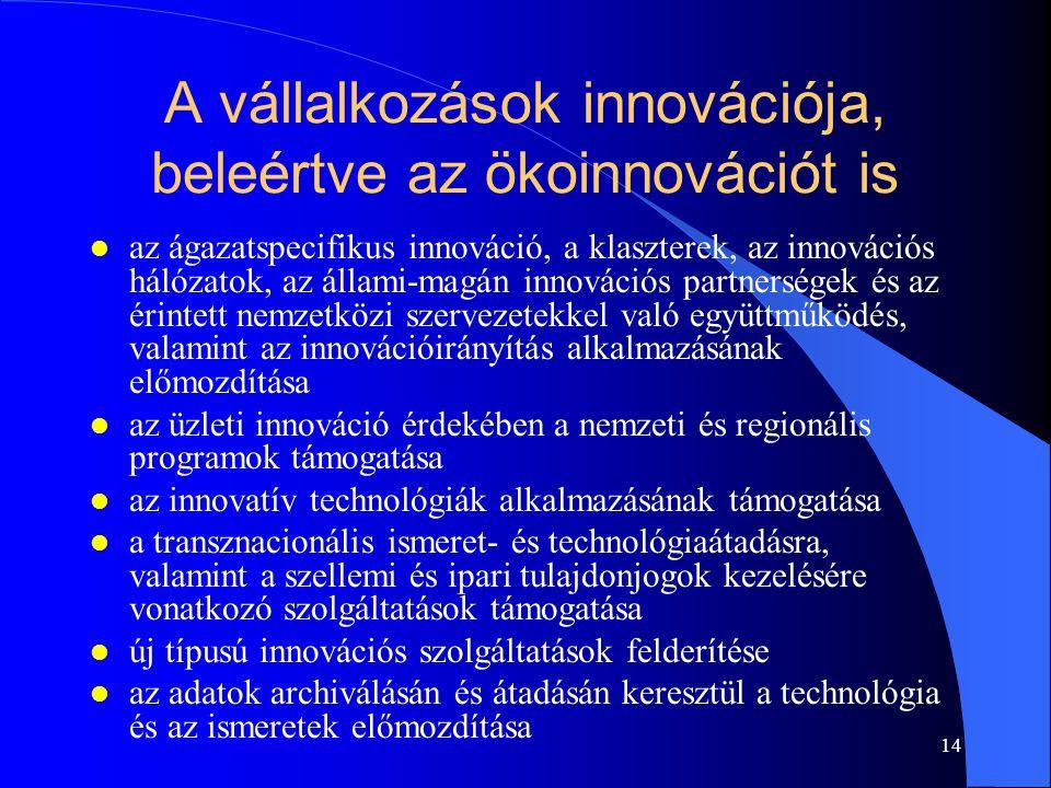 A vállalkozások innovációja, beleértve az ökoinnovációt is