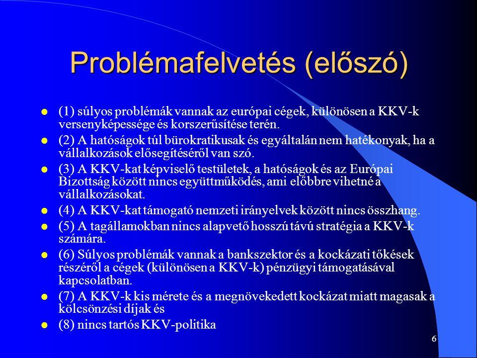 Problémafelvetés (előszó)