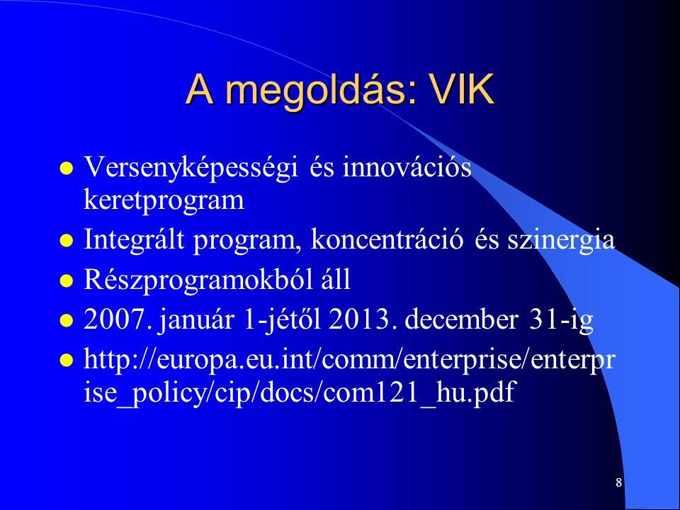 A megoldás: VIK Versenyképességi és innovációs keretprogram