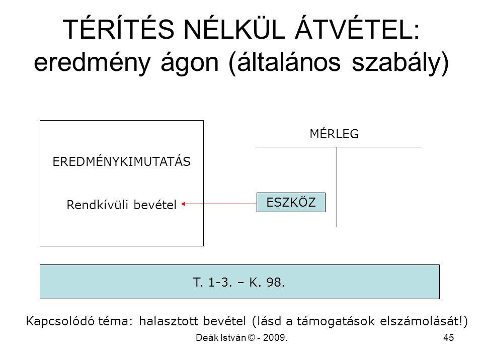 TÉRÍTÉS NÉLKÜL ÁTVÉTEL: eredmény ágon (általános szabály)
