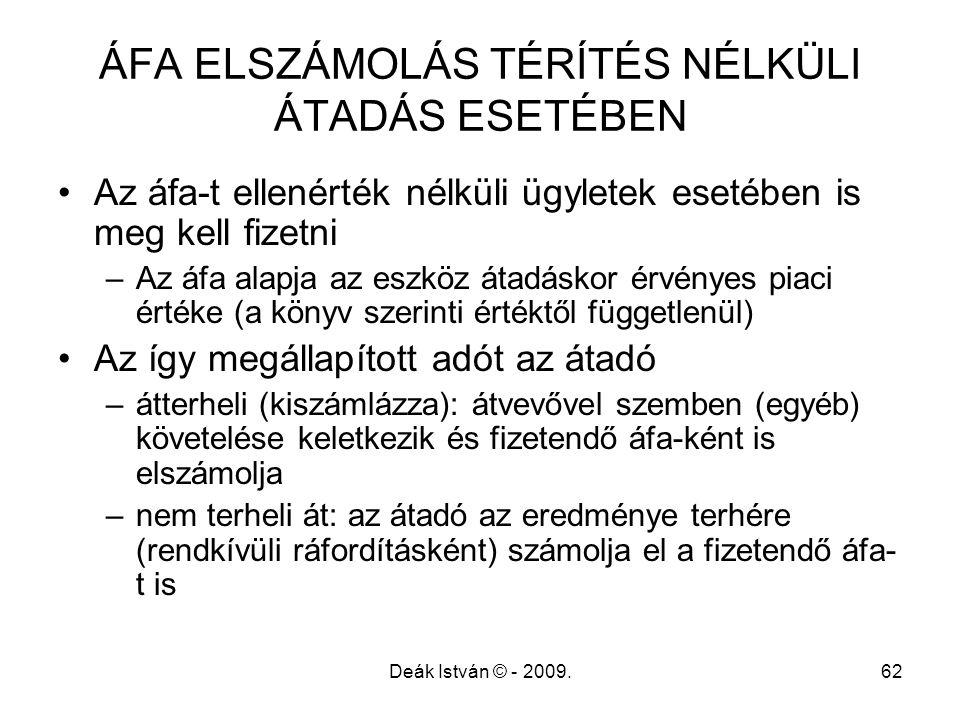 ÁFA ELSZÁMOLÁS TÉRÍTÉS NÉLKÜLI ÁTADÁS ESETÉBEN
