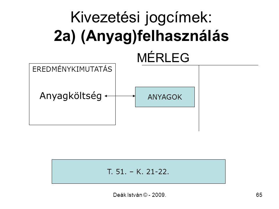 Kivezetési jogcímek: 2a) (Anyag)felhasználás