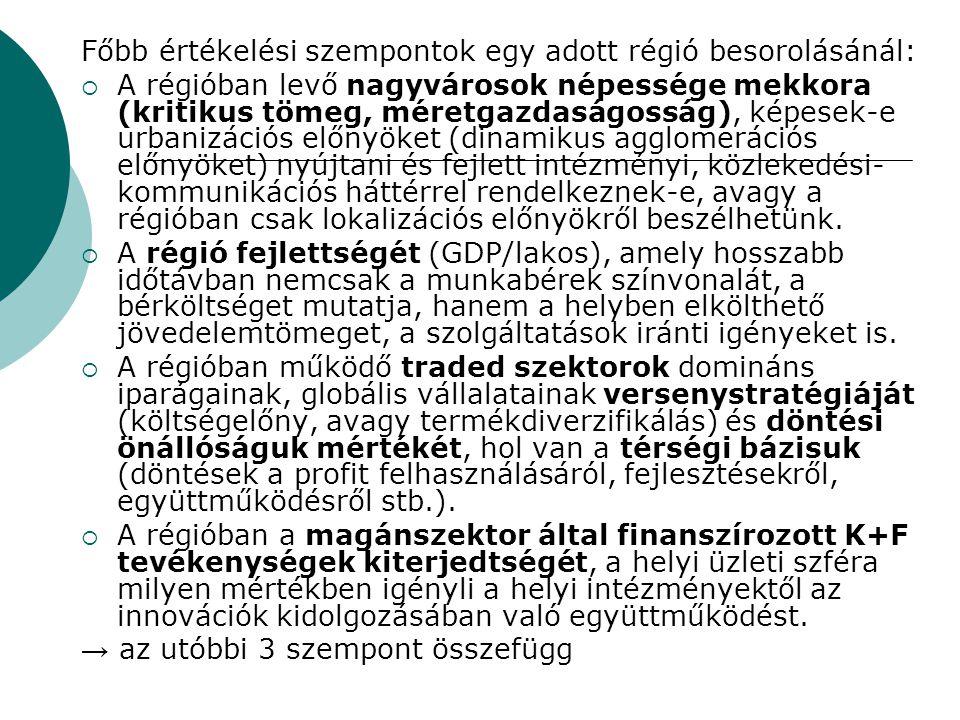 Főbb értékelési szempontok egy adott régió besorolásánál: