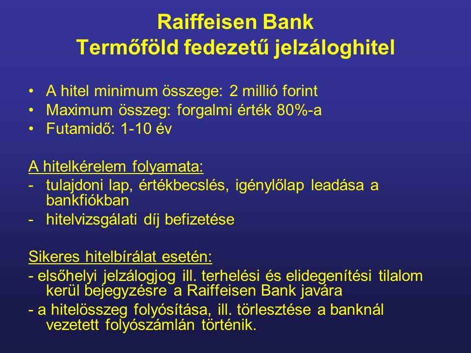 Raiffeisen Bank Termőföld fedezetű jelzáloghitel