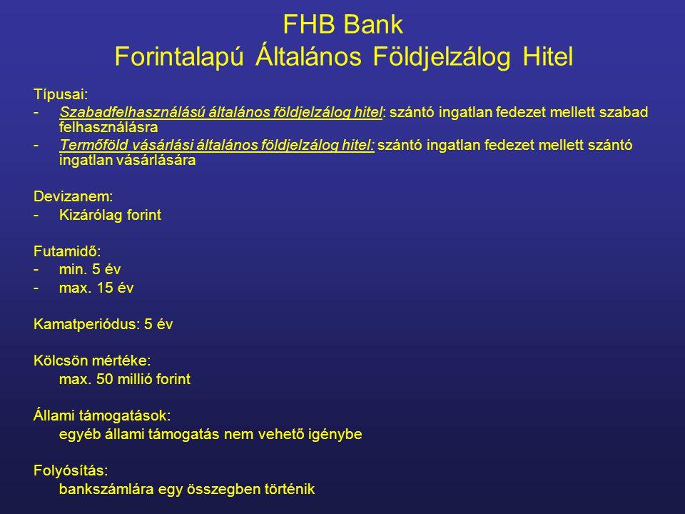 FHB Bank Forintalapú Általános Földjelzálog Hitel