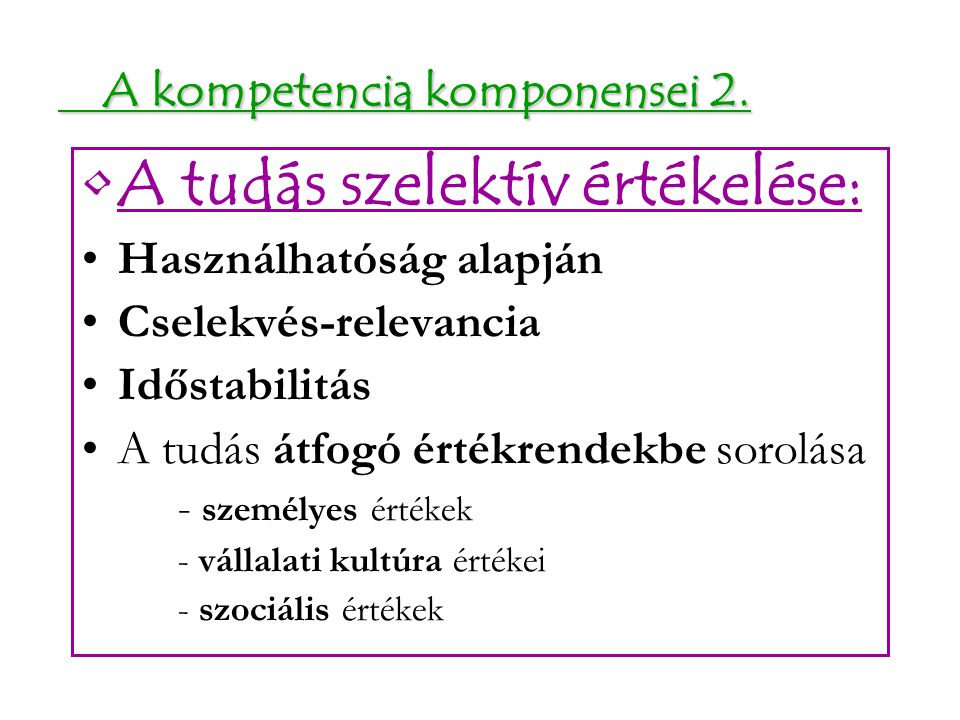 A kompetencia komponensei 2.
