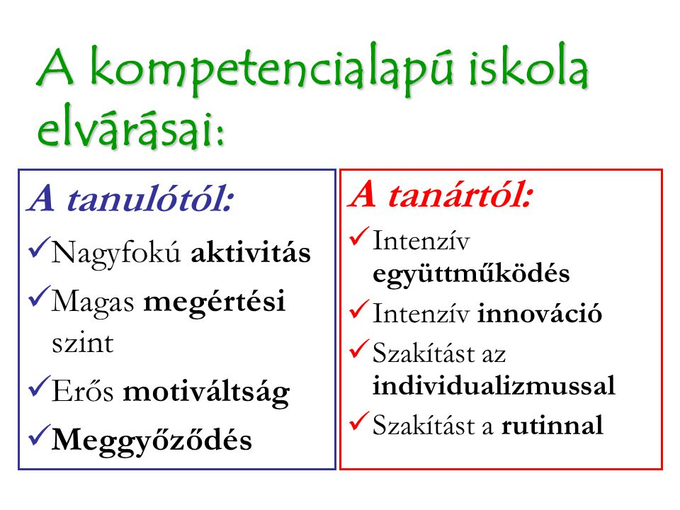 A kompetencialapú iskola elvárásai: