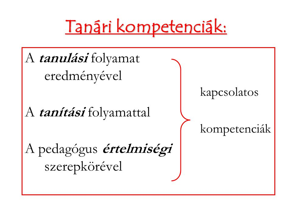 Tanári kompetenciák: A tanulási folyamat eredményével kapcsolatos