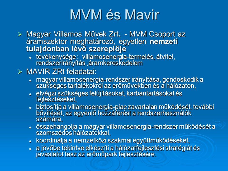 MVM és Mavir Magyar Villamos Művek Zrt. - MVM Csoport az áramszektor meghatározó, egyetlen nemzeti tulajdonban lévő szereplője.