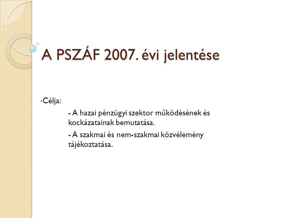 A PSZÁF 2007. évi jelentése Célja: