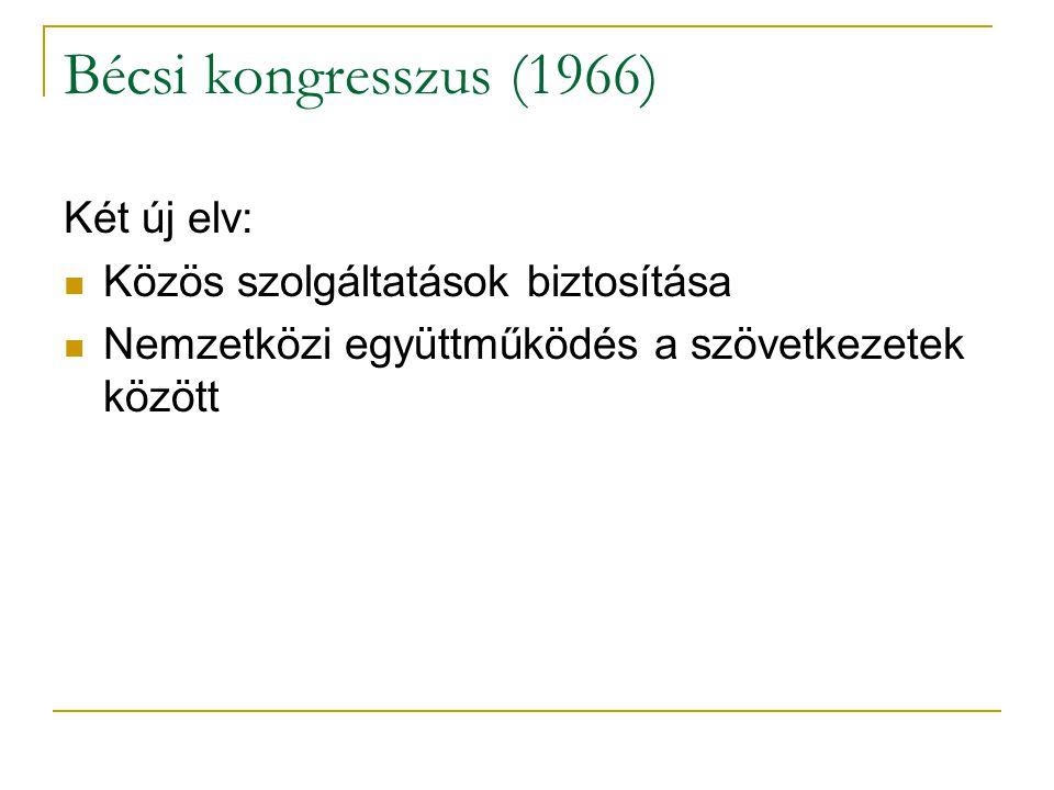 Bécsi kongresszus (1966) Két új elv: Közös szolgáltatások biztosítása