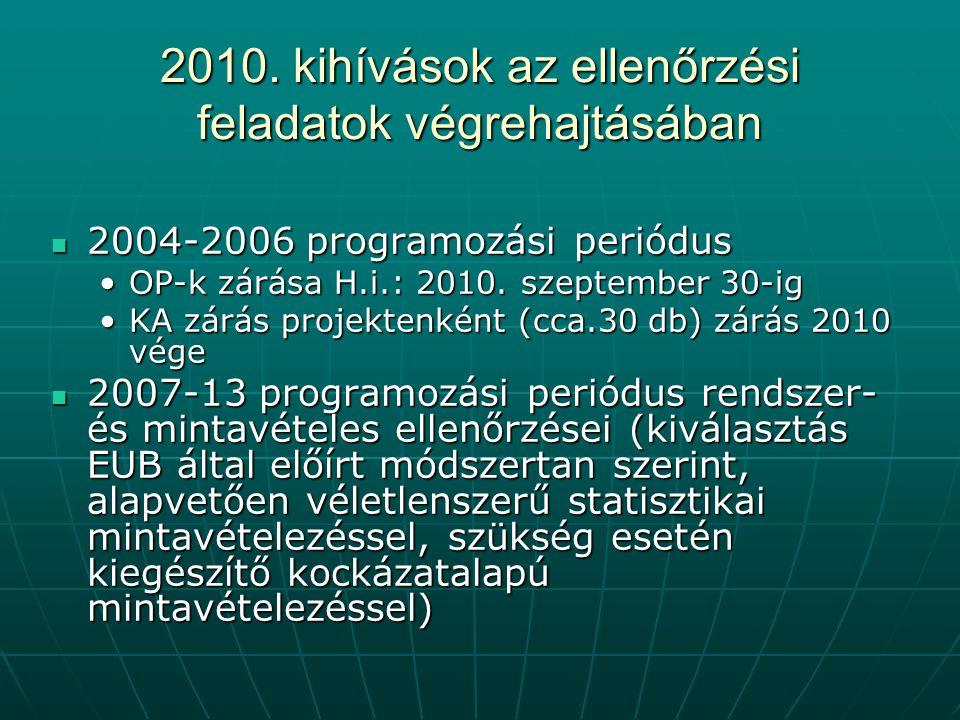 2010. kihívások az ellenőrzési feladatok végrehajtásában