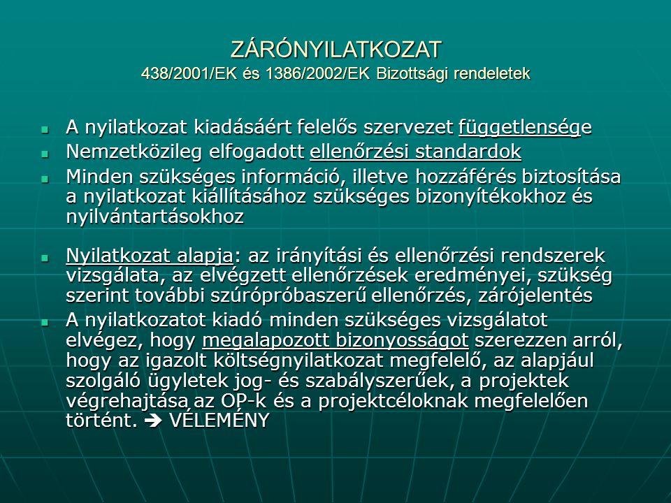 ZÁRÓNYILATKOZAT 438/2001/EK és 1386/2002/EK Bizottsági rendeletek