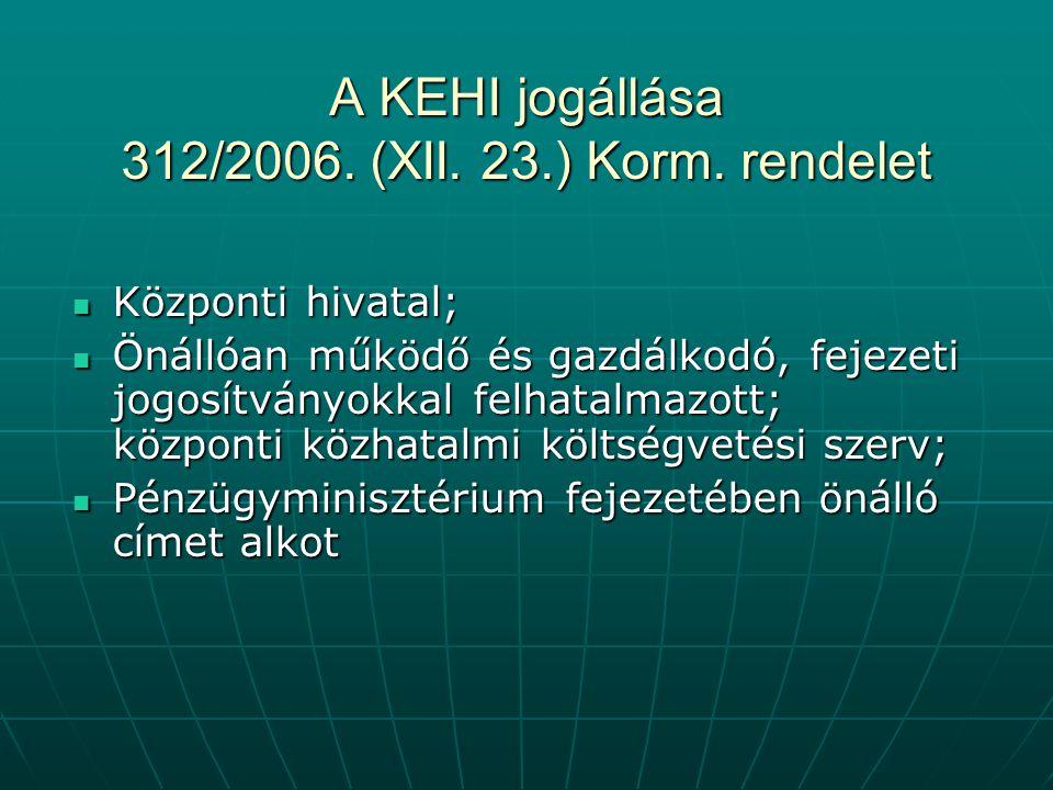 A KEHI jogállása 312/2006. (XII. 23.) Korm. rendelet