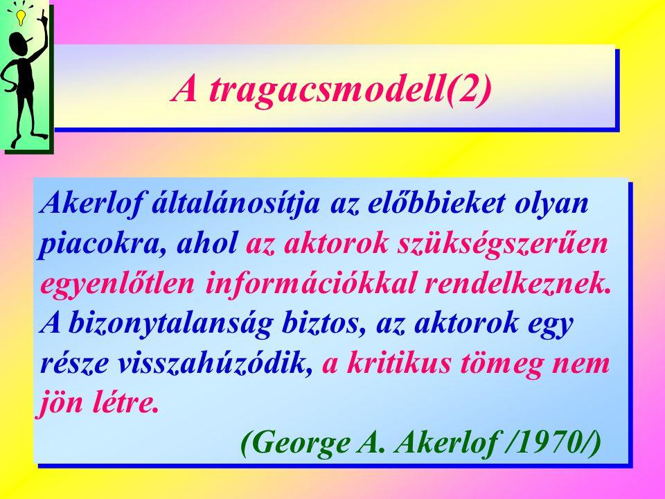 A tragacsmodell(2) Akerlof általánosítja az előbbieket olyan