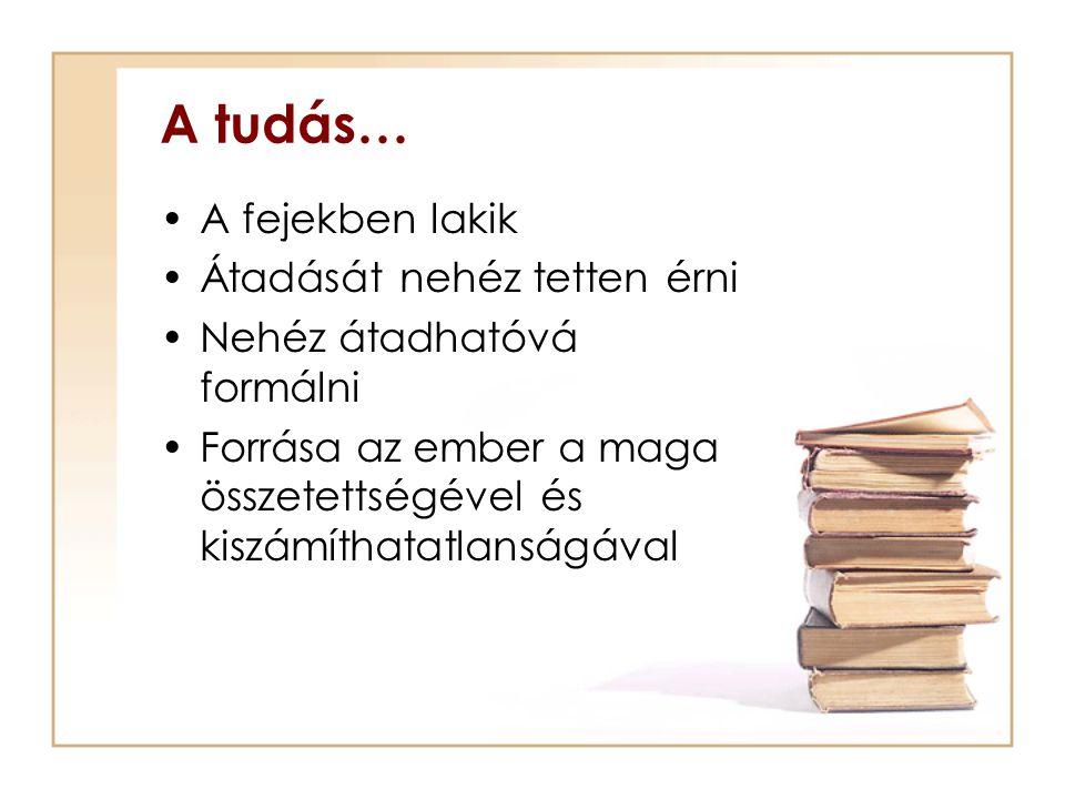 A tudás… A fejekben lakik Átadását nehéz tetten érni