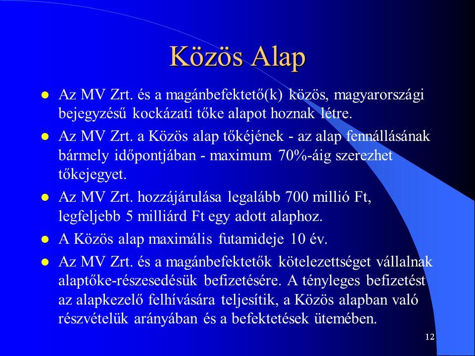Közös Alap Az MV Zrt. és a magánbefektető(k) közös, magyarországi bejegyzésű kockázati tőke alapot hoznak létre.
