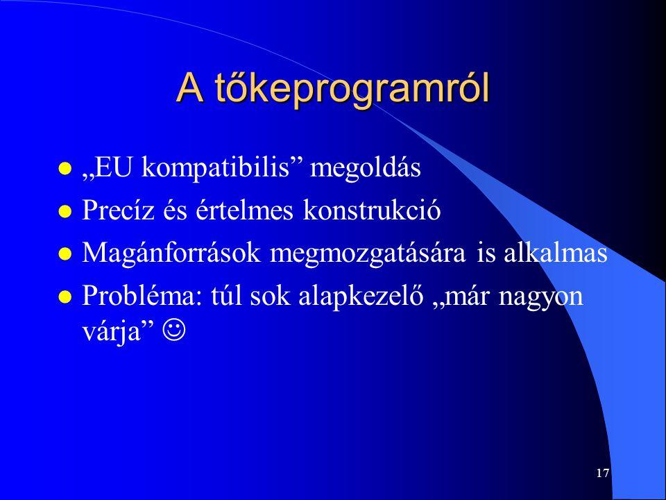 """A tőkeprogramról """"EU kompatibilis megoldás"""