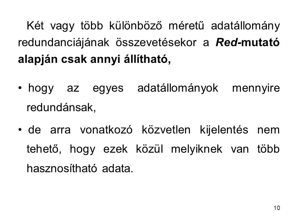 Két vagy több különböző méretű adatállomány redundanciájának összevetésekor a Red-mutató alapján csak annyi állítható,