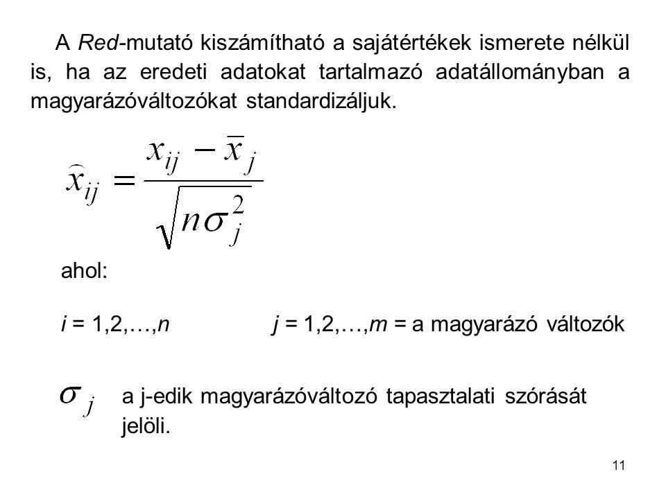 A Red-mutató kiszámítható a sajátértékek ismerete nélkül is, ha az eredeti adatokat tartalmazó adatállományban a magyarázóváltozókat standardizáljuk.
