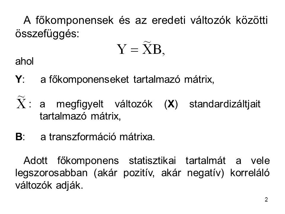 A főkomponensek és az eredeti változók közötti összefüggés:
