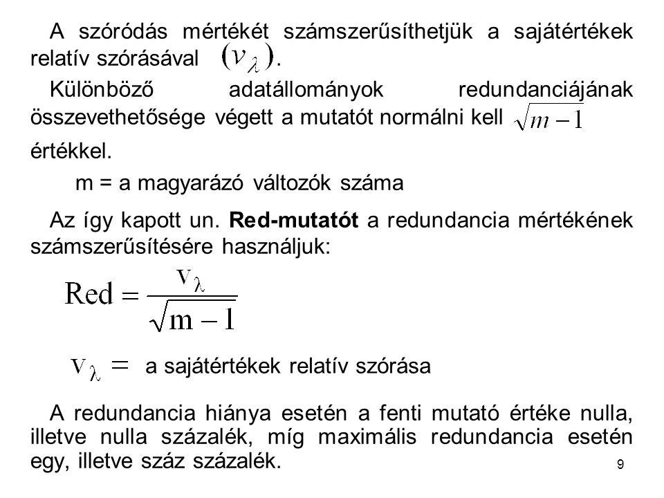 A szóródás mértékét számszerűsíthetjük a sajátértékek relatív szórásával .