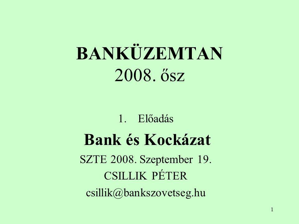 BANKÜZEMTAN 2008. ősz Előadás Bank és Kockázat