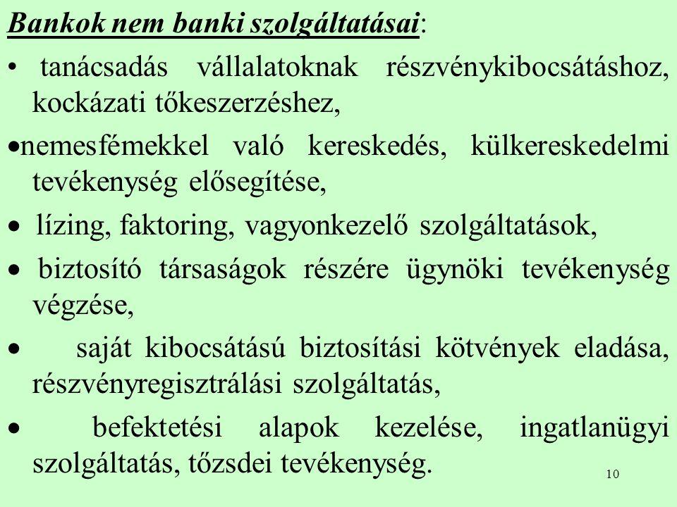 Bankok nem banki szolgáltatásai: