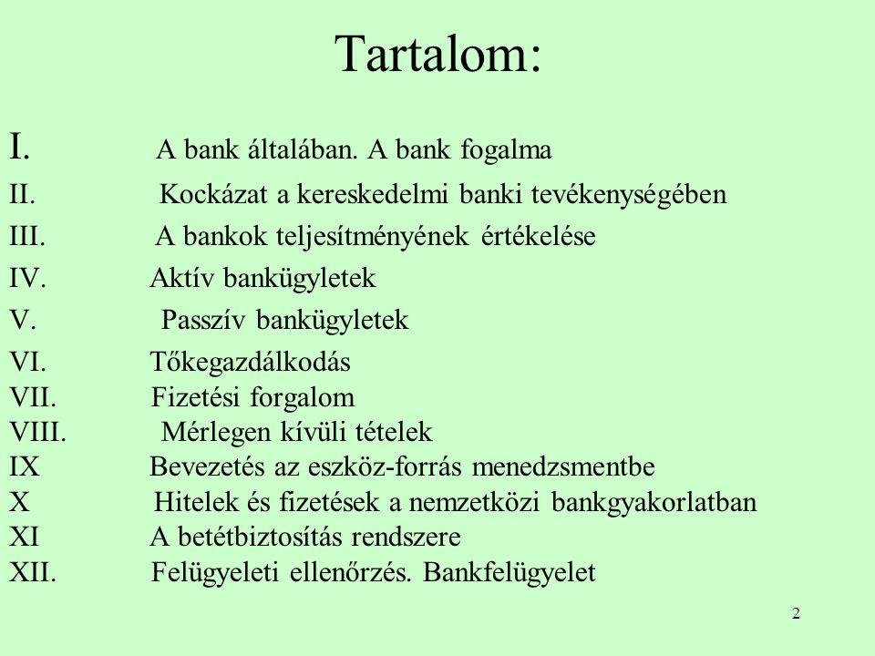 Tartalom: I. A bank általában. A bank fogalma