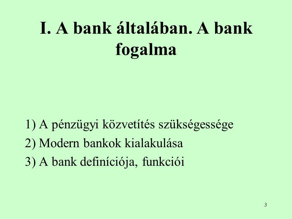 I. A bank általában. A bank fogalma