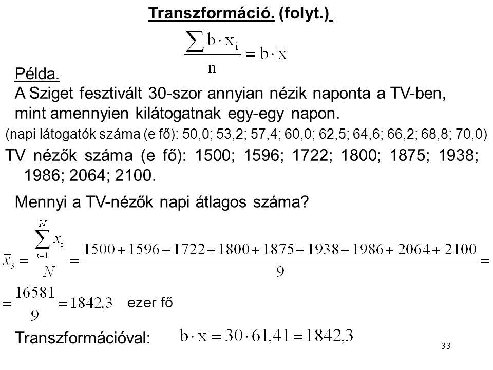 Transzformáció. (folyt.)