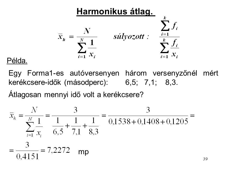 Harmonikus átlag. Példa.
