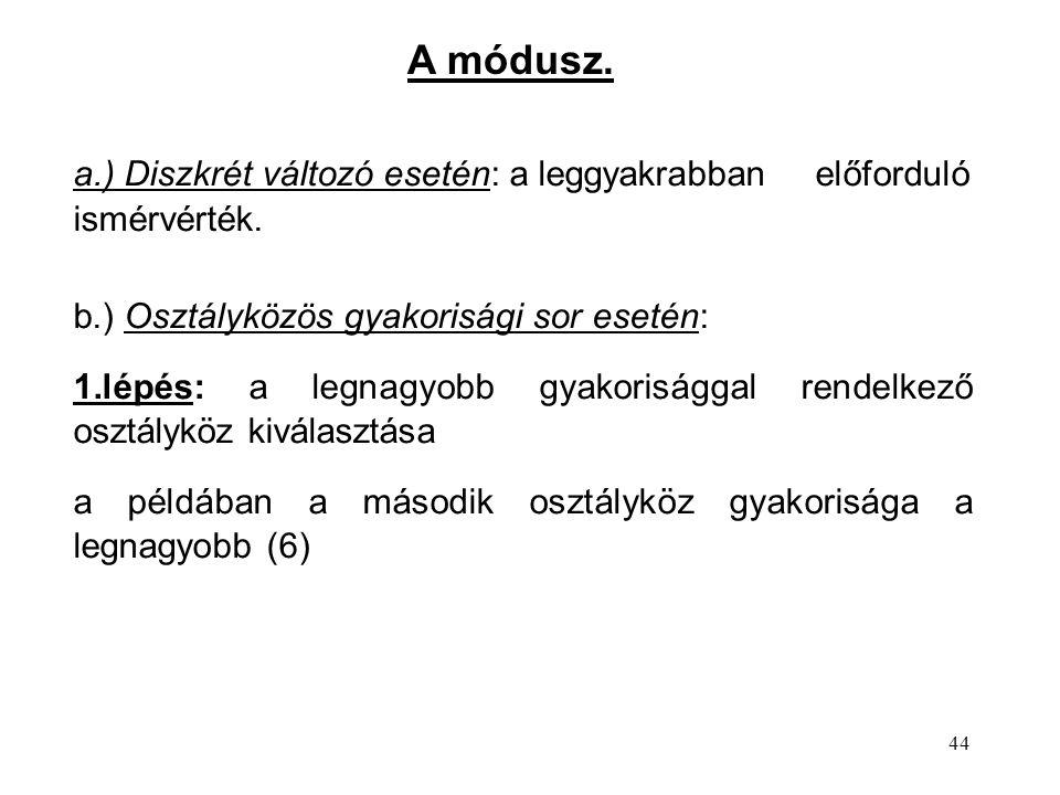 A módusz. a.) Diszkrét változó esetén: a leggyakrabban előforduló ismérvérték. b.) Osztályközös gyakorisági sor esetén: